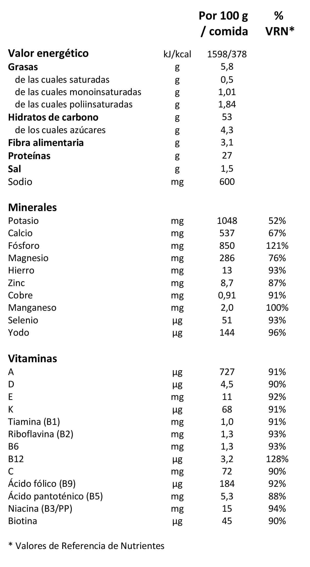 tabla nutricional kuik meal bolsa de comida vegana liquida completa